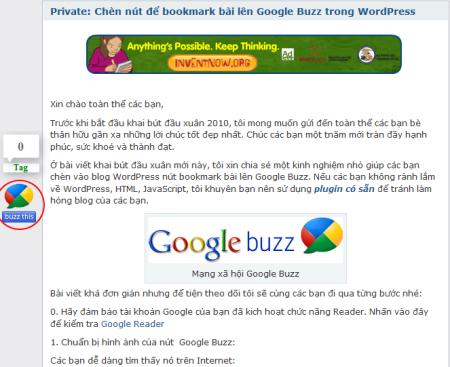 Tích hợp Google Buzz vàoWordPress
