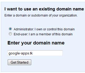 Đăng ký Google Apps với một domain .TK