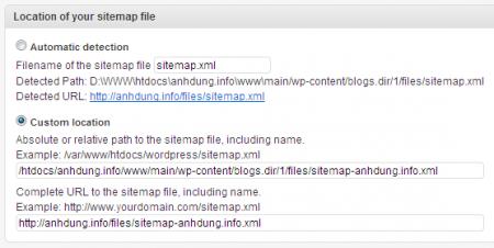 Cấu hình lại sitemap ứng với mỗi website con