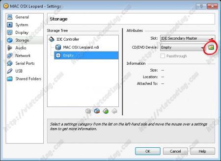MAC-OSX-02 Add CD/DVD to virtual machine