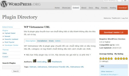 WP-Vietnamese-URL resleased trên WordPress