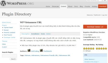 WP-Vietnamese-URL resleased trên WordPress