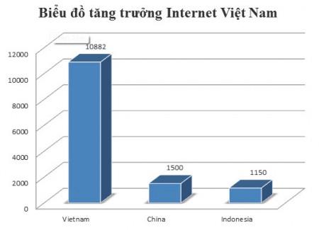 Biểu đồ tăng trưởng Internet Việt Nam tháng 7-2010