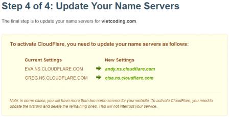 Bước 4: Chuyển NameServer về CloudFlare