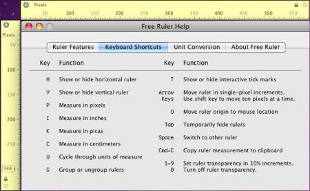 FreeRuler - Keyboard Shortcut