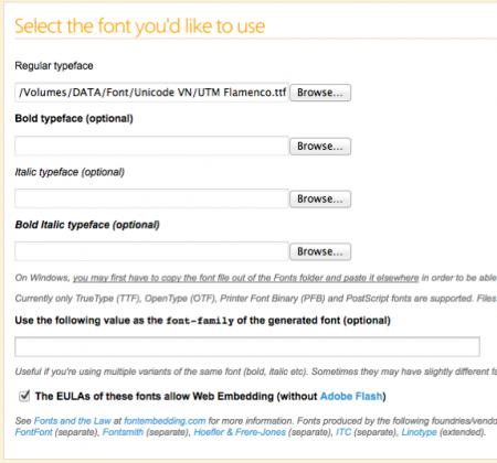 Upload fonts đã chọn trước đó