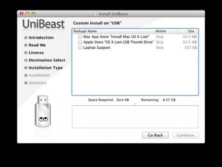 Chọn nguồn tạo cài đặt Mac Lion