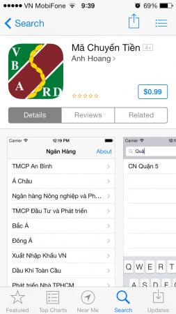 Mã Chuyển Tiền trên App Store iPhone