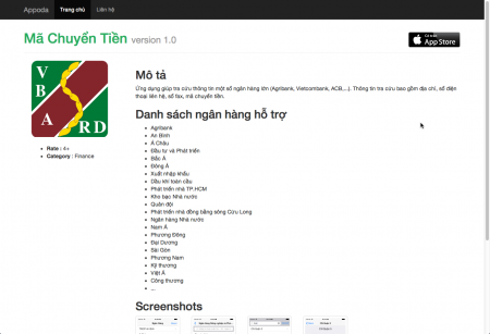 Website giới thiệu ứng dụng
